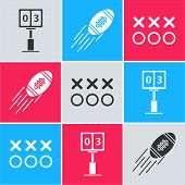 Set Sport Football Mechanical Scoreboard And Result Display, American Football Ball And Planning Str poster