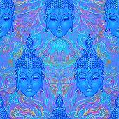 Sitting Buddha Over Colorful Neon Background. Seamless Pattern. Vector Illustration. Psychedelic Mus poster