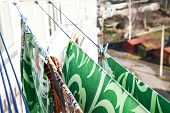 Waschespinne, Hung Up To Dry, Clothes Dry On A Rope In The Balcony, Laundry Pins And Hanged Clothes, poster