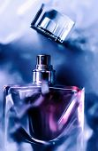 Perfume Bottle Under Purple Water, Fresh Sea Coastal Scent As Glamour Fragrance And Eau De Parfum Pr poster