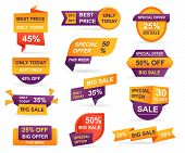 Set Of Retail Sale Tags. Stickers Best Offer Price And Big Sale Pricing Tag Badge Design. Limited Sa poster