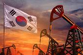 Republic Of Korea (south Korea) Oil Industry Concept, Industrial Illustration. Republic Of Korea (so poster