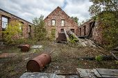 Exterior Of Abandoned Industrial Complex. Exterior Of Abandoned Building At The Keweenaw National Hi poster