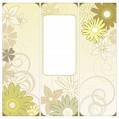 stock photo of triptych  - Vector illustration of a floral triptych in green - JPG