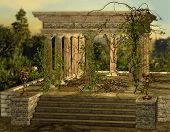 picture of climber plant  - an ancient Greek temple with a burners and ivy - JPG