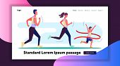 Female And Male Athletes Running Marathon. Family Running Race First Flat Vector Illustration. Runni poster