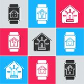 Set Smart Watch With House Under Protection, Smart Watch With Smart House And Light Bulb And Smart H poster