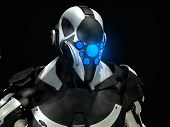foto of armor suit  - 3d render of futuristic super soldier in armor - JPG