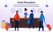Hotel Reception Service Trendy Flat Vector Advertising Banner, Promo Poster Template. Female Recepti poster
