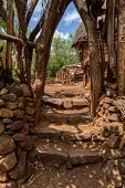 Simple Stone Stairs To House In Walled Village Tribes Konso. African Village. Africa, Ethiopia. Kons poster