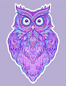 Cute Abstract Owl And Psychedelic Ornate Pattern. Character Tattoo Design For Pet Lovers, Artwork Fo poster