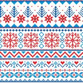 Winter, Christmas Fair Isle Style Traditional Knitwear Vector Seamless Pattern With Snowflakes, Tree poster