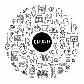 Gardening Vector Doodle Line Art Clip Art, Set Of Elements, Stickers, Icons. Isolated On White Backg poster