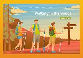 Young People Actively Spend Holidays, Nordic Walking In The Woods. Flat 2d Character. Landing Page C poster