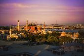 Famous Aya Sofia Mosque In Istanbul, Turkey. Sunset, Sunrise, Beautiful Sky And Bosphorus View, Roof poster