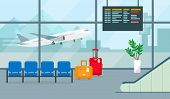 Airport Hall Or Waiting Room With Departures Or Arrivals Board, Chairs, Suitcases And Big Window Vie poster