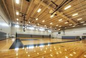 stock photo of bleachers  - Gymnasium at Middle School in Orlando Florida - JPG