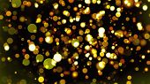 Christmas Background With Glittering Gold Circles Bokeh. Computer Generated 3d Rendering poster