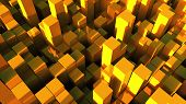 3d Rendering Background Of Many Gold Rectangles Located At Different Levels. Computer Generated Abst poster
