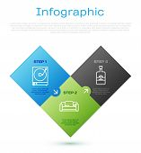 Set Line Vinyl Player With A Vinyl Disk , Whiskey Bottle And Sofa . Business Infographic Template. V poster