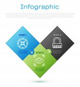 Set Line Safe , Safe Combination Lock And Eye Scan . Business Infographic Template. Vector poster