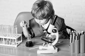 Life Under Microscope. Science Experiments With Microscope In Lab. School Kid Scientist Studying Sci poster