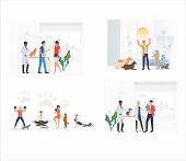 Set Of Pet Owners Taking Care Of Pets. Flat Vector Illustrations Of People Exercising And Playing Wi poster