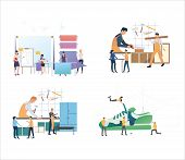 Set Of Workers Crafting And Designing Products. Flat Vector Illustrations Of People Manufacturing Go poster