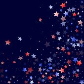 American Presidents Day Stars Background. Holiday Confetti In Usa Flag Colors For Patriot Day. Styli poster