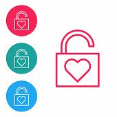 Red Line Lock And Heart Icon Isolated On White Background. Locked Heart. Love Symbol And Keyhole Sig poster