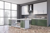 Gray And Green Kitchen Corner, Counters And Island poster