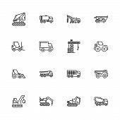 Construction Vehicles Car Outline Icons Set - Black Symbol On White Background. Construction Vehicle poster