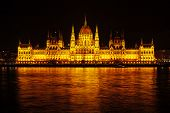 Night View Of The Hungarian Parliament Building In Budapest. Beautiful Lighting And Reflection In Th poster