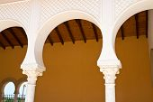 picture of hacienda  - Details of a Beautiful Classical Mediterranean Hacienda Spanish style building with stone arches - JPG