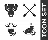 Set Hunt On Rabbit With Crosshairs, Hunting Dog, Hunt On Deer With Crosshairs And Crossed Arrows Ico poster