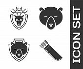Set Quiver With Arrows, Deer Head With Antlers On Shield, Bear Head On Shield And Bear Head Icon. Ve poster
