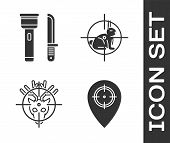 Set Hunt Place, Flashlight And Knife, Hunt On Deer With Crosshairs And Hunt On Rabbit With Crosshair poster