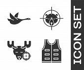 Set Hunting Jacket, Flying Duck, Hunt On Moose With Crosshairs And Hunt On Bear With Crosshairs Icon poster