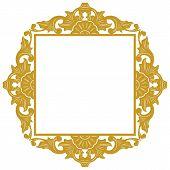 Golden Vintage Ornament Pattern Frame, Border Ornament Pattern Frame, Engraving Ornament Pattern Fra poster
