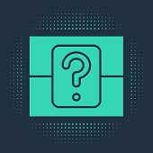Green Mystery Box Or Random Loot Box For Games Icon Isolated On Blue Background. Question Box. Abstr poster