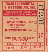 image of transcontinental  - Transcontinental and Western Air New York to Pittsburgh USA Circa 1950 - JPG