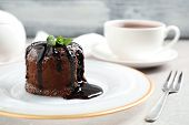 Delicious Warm Chocolate Lava Cake On Grey Table, Closeup poster