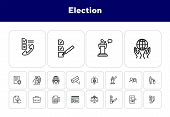 Election Line Icon Set. Checkbox, Checklist, Vote, Speech. Election Concept. Can Be Used For Topics  poster