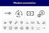 Modern Economics Icons. Set Of Line Icons. Document Edit, Dollar Banknote, Donation. Economics Conce poster