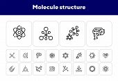Molecule Structure Icon. Set Of Line Icons On White Background. Atom, Cell, Magnet. Physics Concept. poster