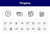 Vlogging Line Icon Set. Set Of Line Icons On White Background. Video Production Concept. Video Folde poster