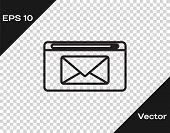 Black Line Mail And E-mail Icon Isolated On Transparent Background. Envelope Symbol E-mail. Email Me poster