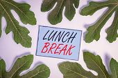 Writing Note Showing Lunch Break. Business Photo Showcasing Time When A Demonstrating Stops Working  poster