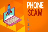 Writing Note Showing Phone Scam. Business Photo Showcasing Getting Unwanted Calls To Promote Product poster