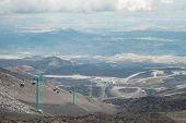 Top Of Crater Mount Etna Volcano, Frozen Cold Lava Smokes, Thick Clouds poster